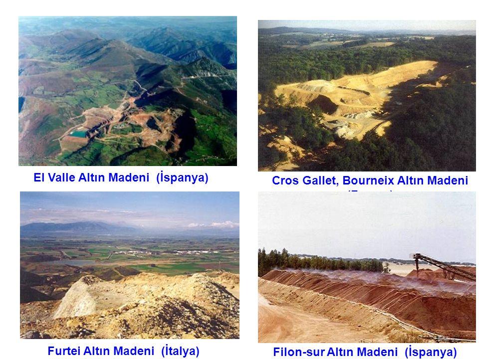 Cros Gallet, Bourneix Altın Madeni (Fransa) Filon-sur Altın Madeni (İspanya) El Valle Altın Madeni (İspanya) Furtei Altın Madeni (İtalya)