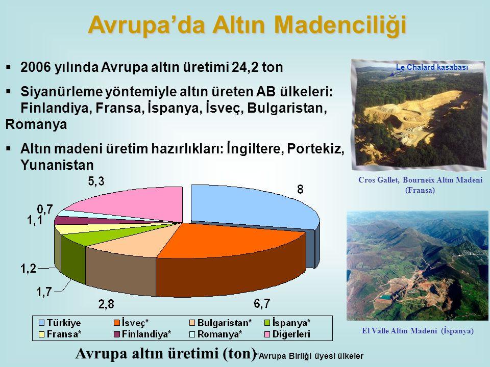 *Avrupa Birliği üyesi ülkeler  2006 yılında Avrupa altın üretimi 24,2 ton  Siyanürleme yöntemiyle altın üreten AB ülkeleri: Finlandiya, Fransa, İspa