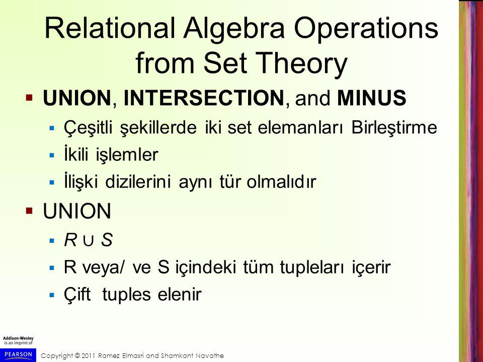 Copyright © 2011 Ramez Elmasri and Shamkant Navathe Relational Algebra Operations from Set Theory  UNION, INTERSECTION, and MINUS  Çeşitli şekillerd