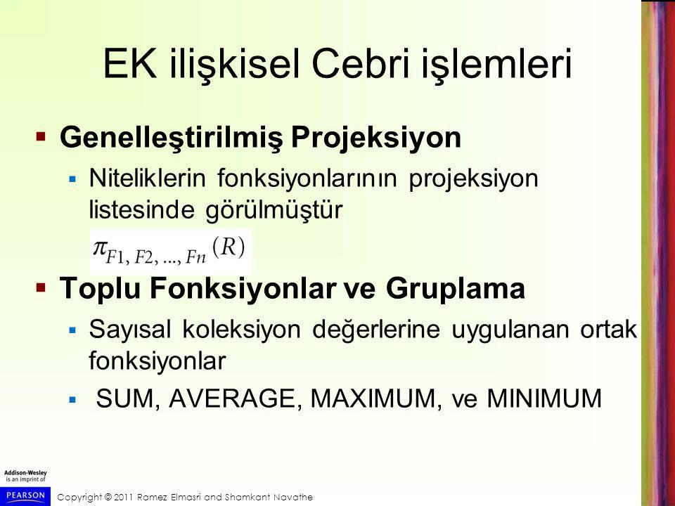 EK ilişkisel Cebri işlemleri  Genelleştirilmiş Projeksiyon  Niteliklerin fonksiyonlarının projeksiyon listesinde görülmüştür  Toplu Fonksiyonlar ve