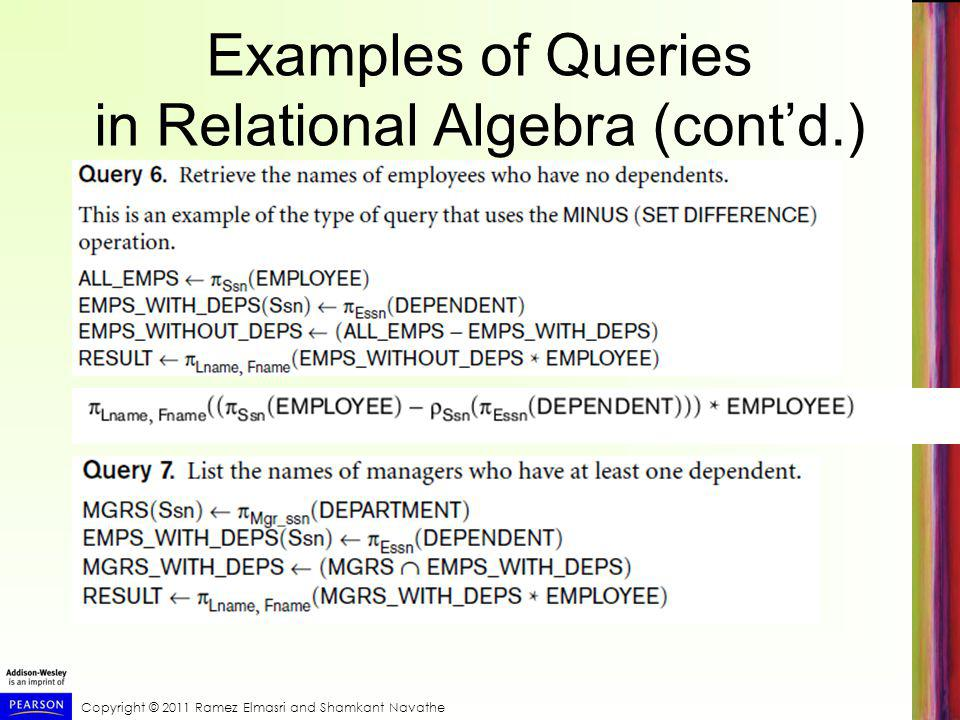 Copyright © 2011 Ramez Elmasri and Shamkant Navathe Examples of Queries in Relational Algebra (cont'd.)