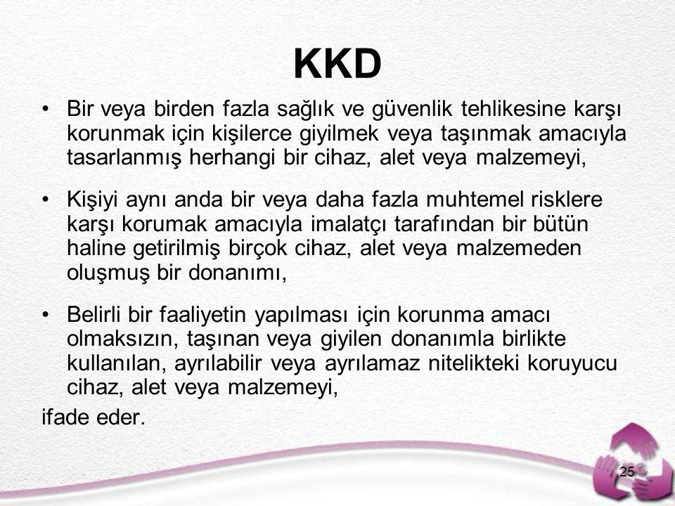 KKD 25 Bir veya birden fazla sağlık ve güvenlik tehlikesine karşı korunmak için kişilerce giyilmek veya taşınmak amacıyla tasarlanmış herhangi bir cih