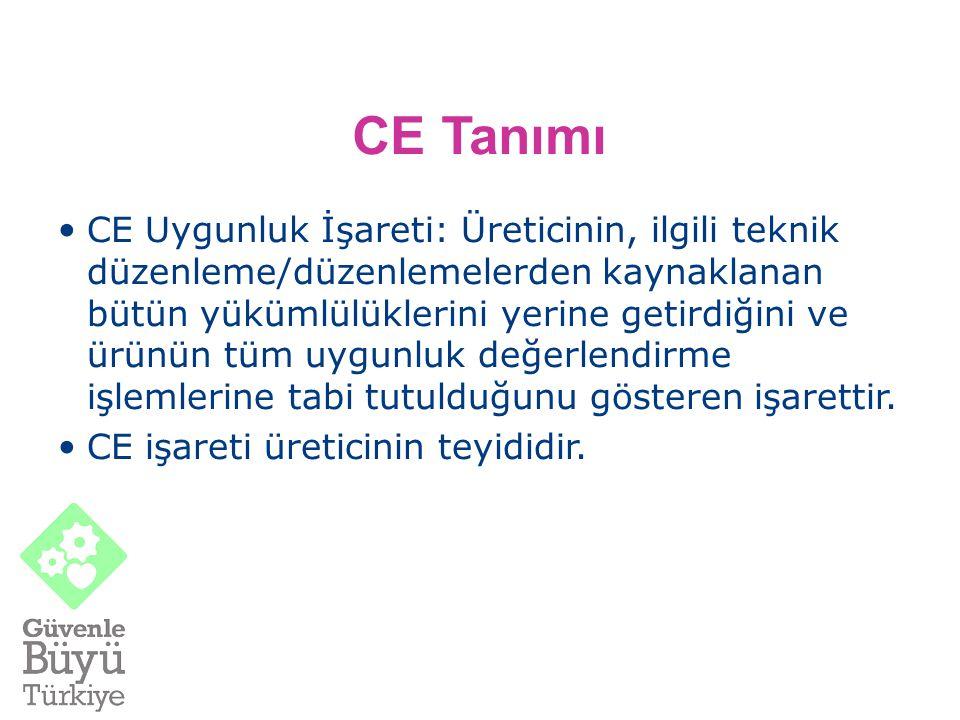 CE Tanımı CE Uygunluk İşareti: Üreticinin, ilgili teknik düzenleme/düzenlemelerden kaynaklanan bütün yükümlülüklerini yerine getirdiğini ve ürünün tüm