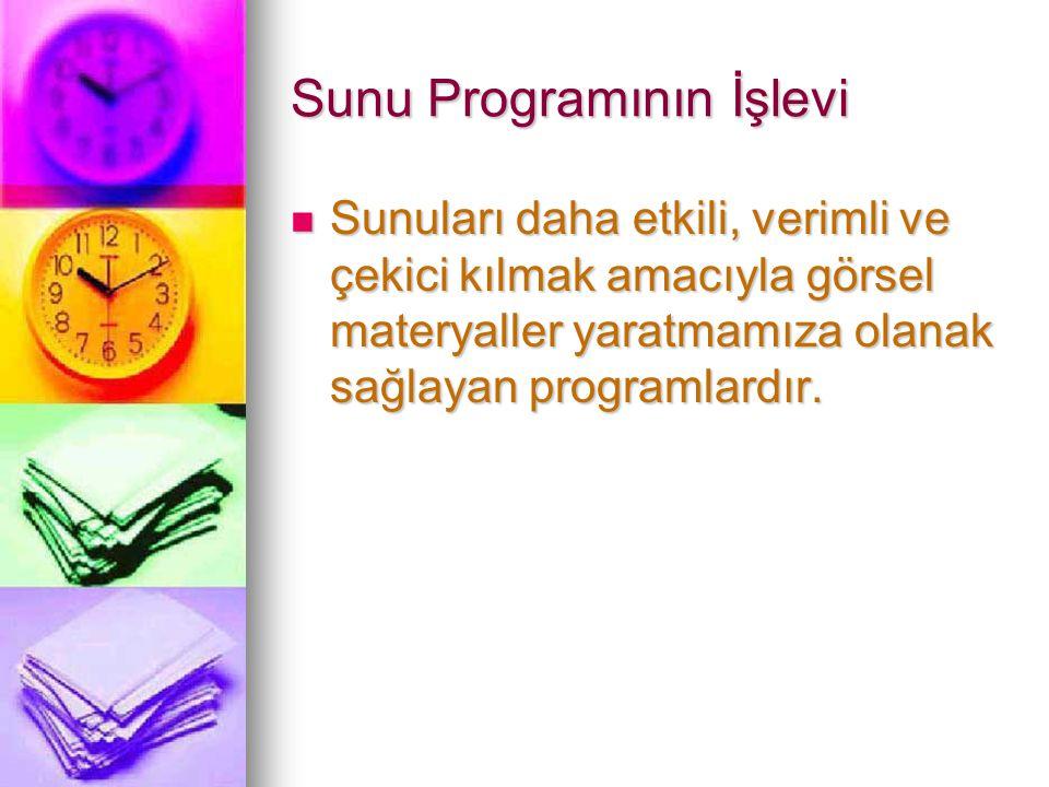 Sunu Programının İşlevi Sunuları daha etkili, verimli ve çekici kılmak amacıyla görsel materyaller yaratmamıza olanak sağlayan programlardır.