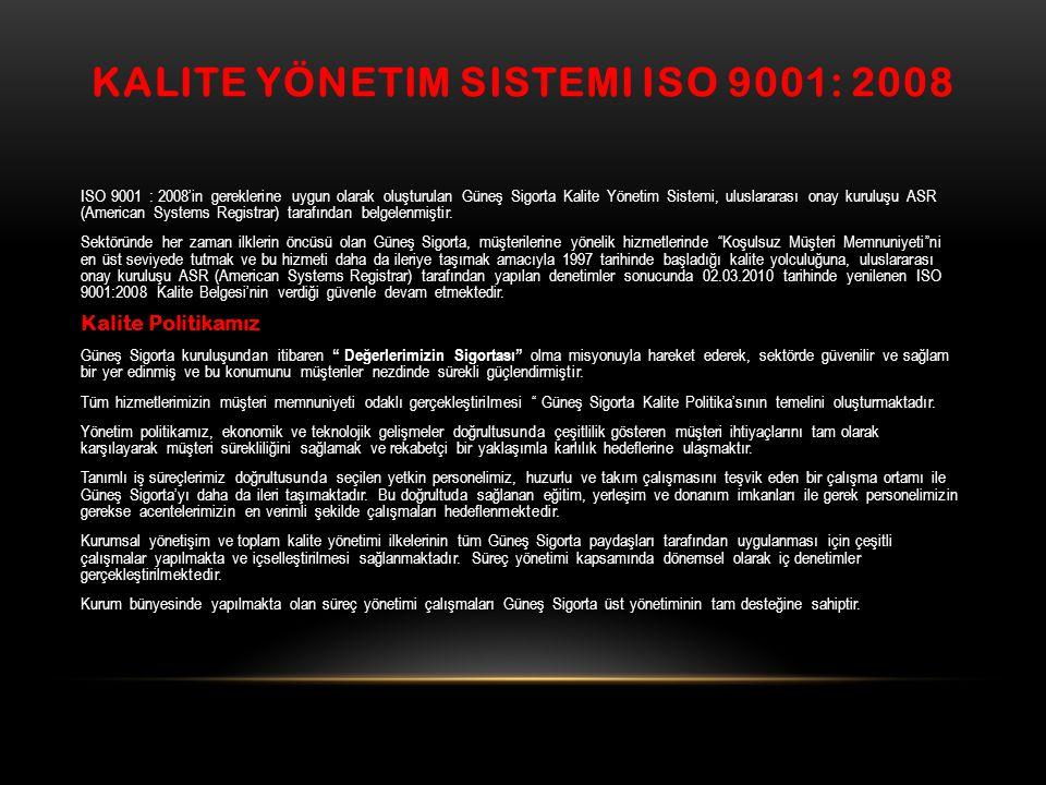 KALITE YÖNETIM SISTEMI ISO 9001: 2008 ISO 9001 : 2008'in gereklerine uygun olarak oluşturulan Güneş Sigorta Kalite Yönetim Sistemi, uluslararası onay kuruluşu ASR (American Systems Registrar) tarafından belgelenmiştir.