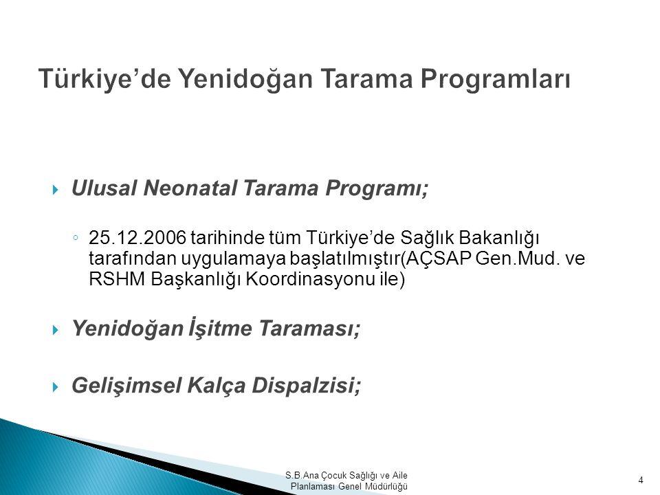 4 Türkiye'de Yenidoğan Tarama Programları  Ulusal Neonatal Tarama Programı; ◦ 25.12.2006 tarihinde tüm Türkiye'de Sağlık Bakanlığı tarafından uygulam