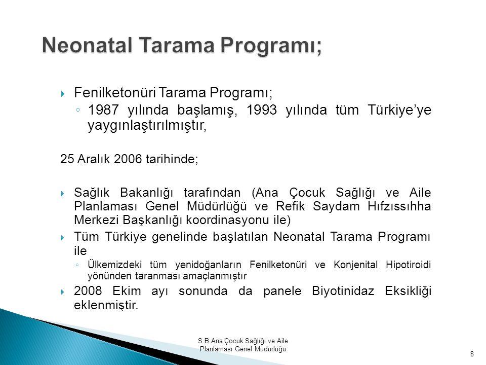 S.B.Ana Çocuk Sağlığı ve Aile Planlaması Genel Müdürlüğü 8 Neonatal Tarama Programı;  Fenilketonüri Tarama Programı; ◦ 1987 yılında başlamış, 1993 yı