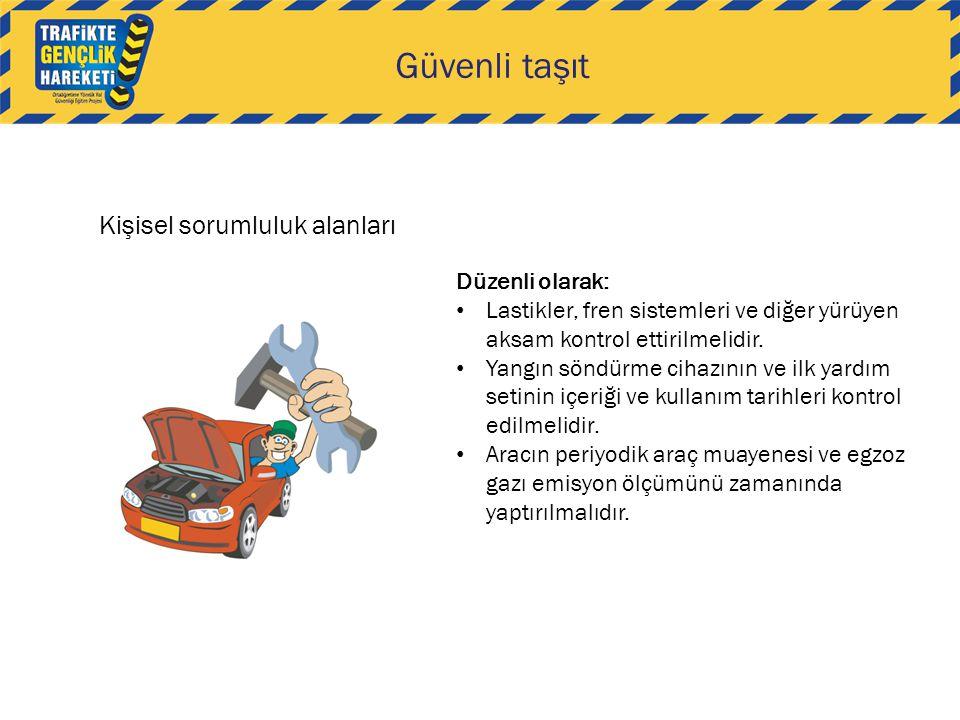 Kişisel sorumluluk alanları Güvenli taşıt Düzenli olarak: Lastikler, fren sistemleri ve diğer yürüyen aksam kontrol ettirilmelidir.