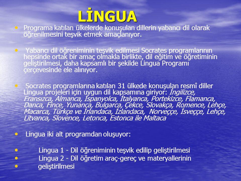 LİNGUA LİNGUA Programa katılan ülkelerde konuşulan dillerin yabancı dil olarak öğrenilmesini teşvik etmek amaçlanıyor.
