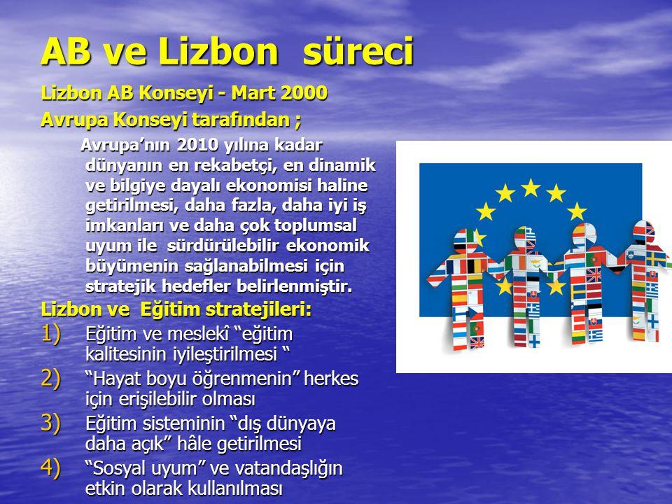 AB ve Lizbon süreci Lizbon AB Konseyi - Mart 2000 Avrupa Konseyi tarafından ; Avrupa'nın 2010 yılına kadar dünyanın en rekabetçi, en dinamik ve bilgiye dayalı ekonomisi haline getirilmesi, daha fazla, daha iyi iş imkanları ve daha çok toplumsal uyum ile sürdürülebilir ekonomik büyümenin sağlanabilmesi için stratejik hedefler belirlenmiştir.