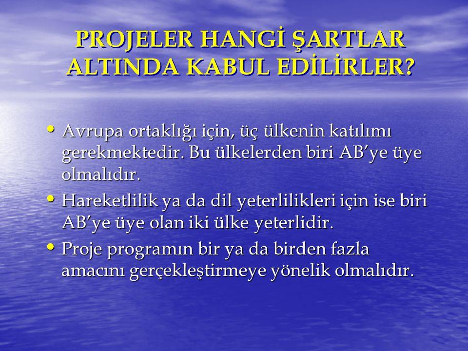 PROJELER HANGİ ŞARTLAR ALTINDA KABUL EDİLİRLER.