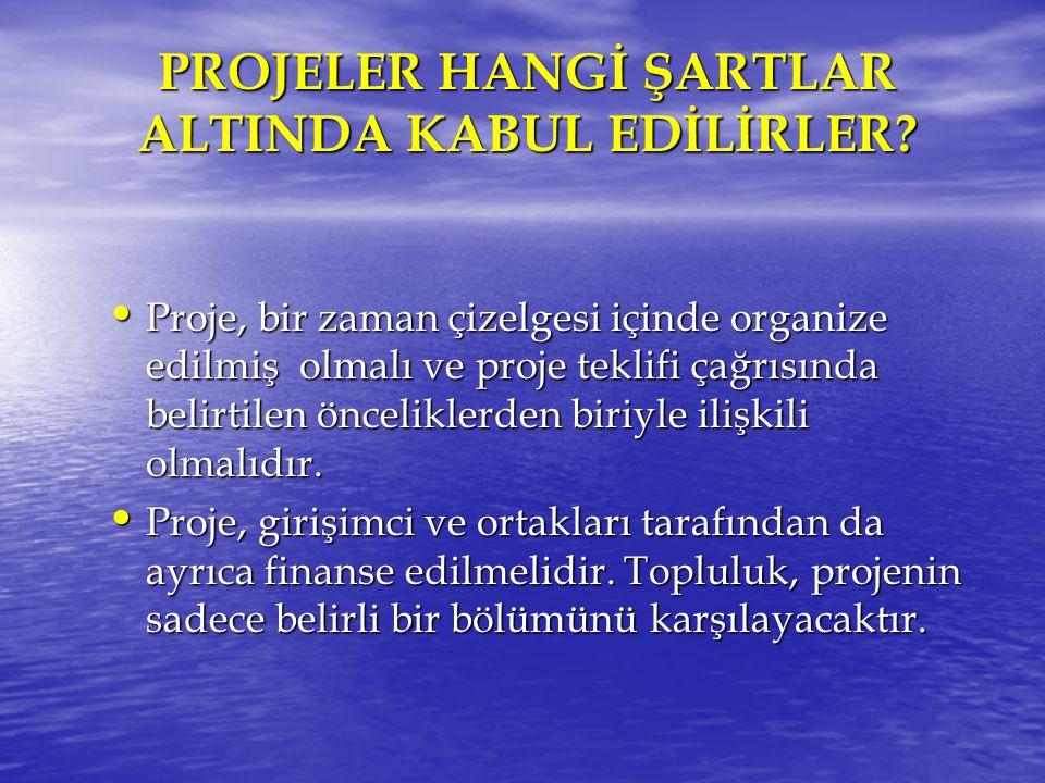 Proje, bir zaman çizelgesi içinde organize edilmiş olmalı ve proje teklifi çağrısında belirtilen önceliklerden biriyle ilişkili olmalıdır.