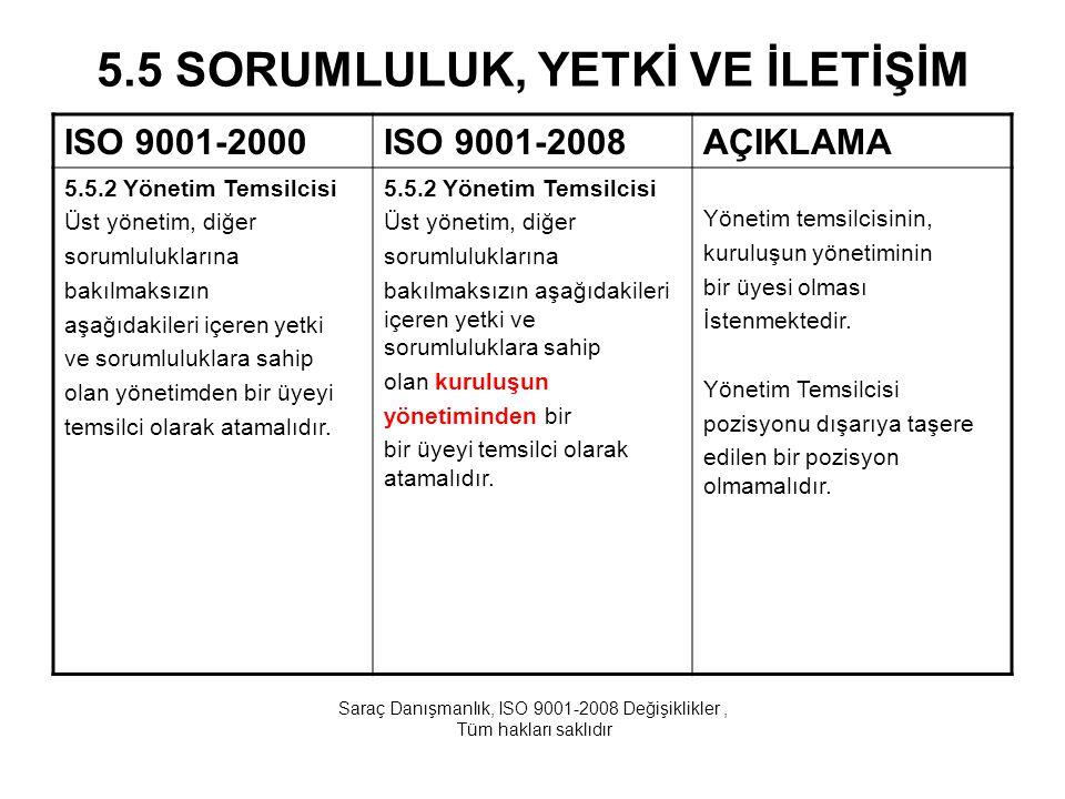 5.5 SORUMLULUK, YETKİ VE İLETİŞİM ISO 9001-2000ISO 9001-2008AÇIKLAMA 5.5.2 Yönetim Temsilcisi Üst yönetim, diğer sorumluluklarına bakılmaksızın aşağıd
