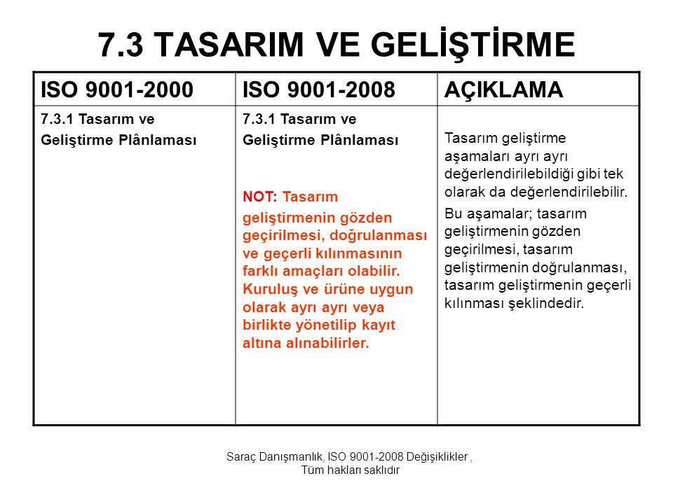 7.3 TASARIM VE GELİŞTİRME ISO 9001-2000ISO 9001-2008AÇIKLAMA 7.3.1 Tasarım ve Geliştirme Plânlaması 7.3.1 Tasarım ve Geliştirme Plânlaması NOT: Tasarı