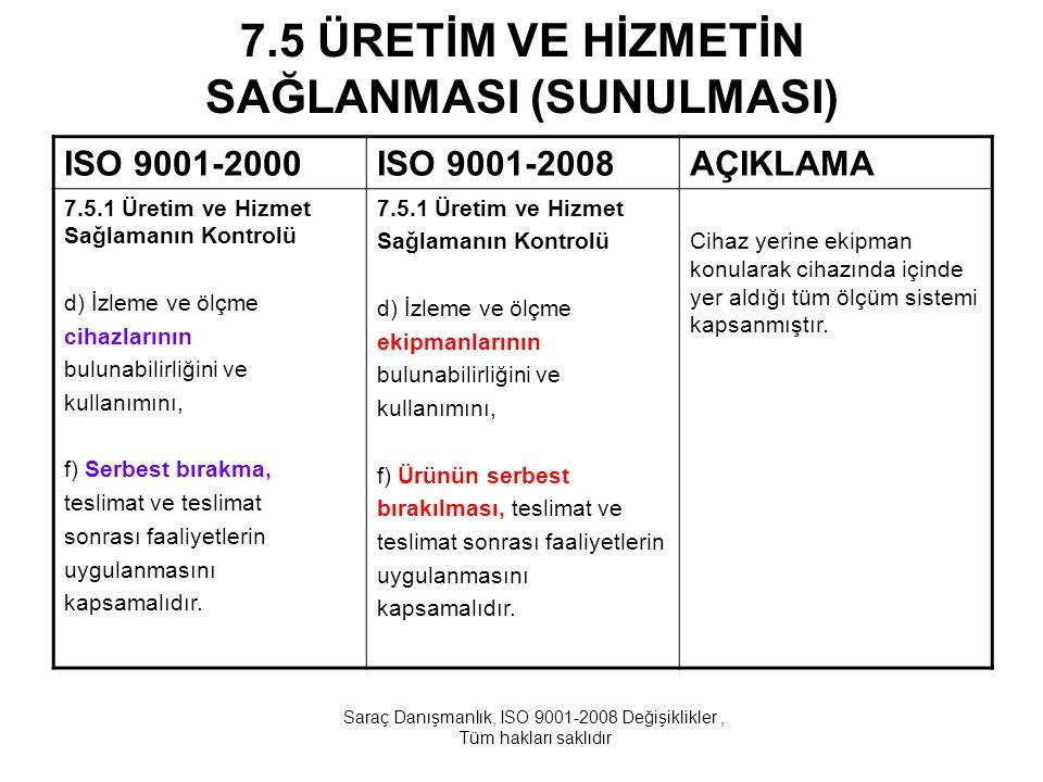 7.5 ÜRETİM VE HİZMETİN SAĞLANMASI (SUNULMASI) ISO 9001-2000ISO 9001-2008AÇIKLAMA 7.5.1 Üretim ve Hizmet Sağlamanın Kontrolü d) İzleme ve ölçme cihazla