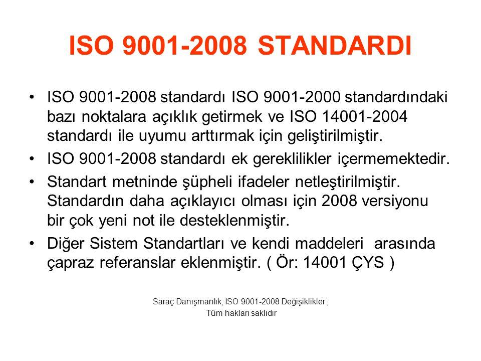1 KAPSAM  Bu standart ve diğer yönetim sistemi standartları ile uyum açısından yasal gerekliliklerin açıklanması kısmı eklendi,  Yasal gerekliliklerle ilgili olarak 2008 standardının tüm bölümlerine 'kanuna bağlı' ifadesi eklendi,  Standart, ürün ve hizmetin sağlanması ile ilgili tüm yerel yönetmelikler, ulusal / uluslararası yasaların, gönüllü olarak kuruluşların uymayı taahüt ettiği yükümlülükleri müşteri ihtiyaçları ile ilişkili olarak dikkate alınmasını istiyor.