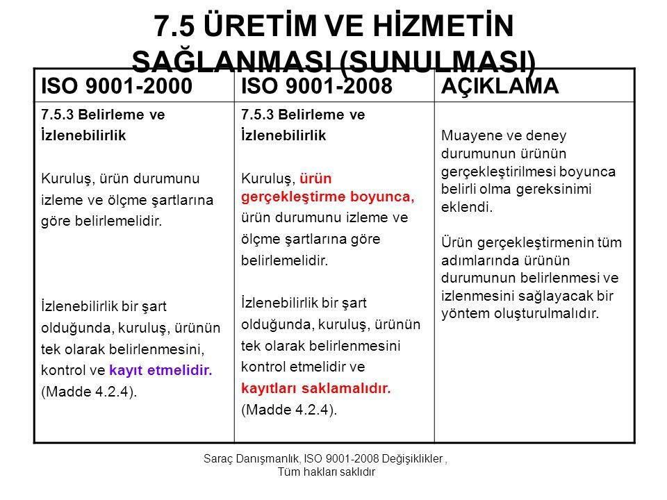 7.5 ÜRETİM VE HİZMETİN SAĞLANMASI (SUNULMASI) ISO 9001-2000ISO 9001-2008AÇIKLAMA 7.5.3 Belirleme ve İzlenebilirlik Kuruluş, ürün durumunu izleme ve öl