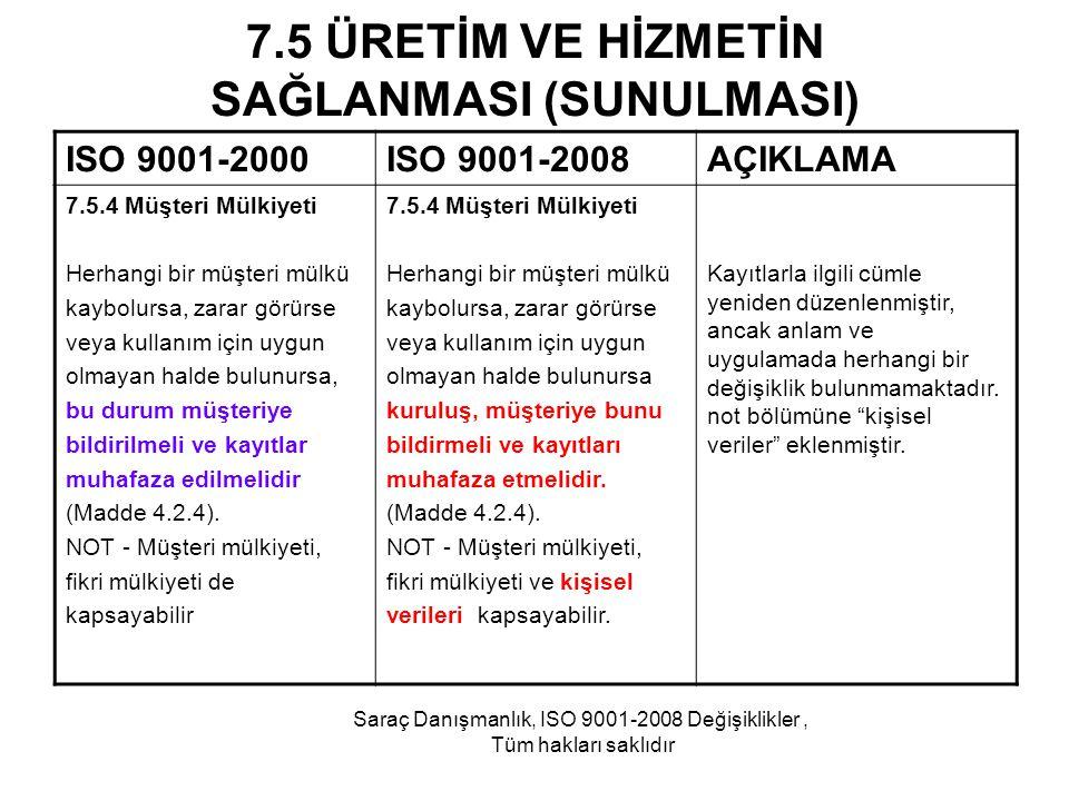 7.5 ÜRETİM VE HİZMETİN SAĞLANMASI (SUNULMASI) ISO 9001-2000ISO 9001-2008AÇIKLAMA 7.5.4 Müşteri Mülkiyeti Herhangi bir müşteri mülkü kaybolursa, zarar