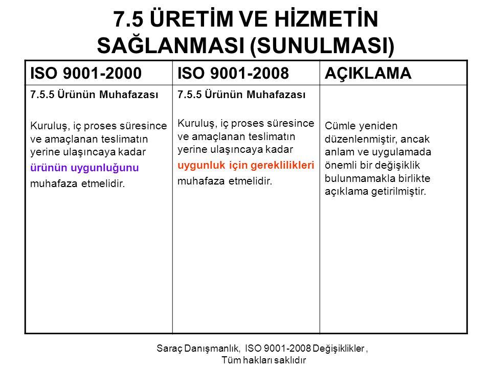7.5 ÜRETİM VE HİZMETİN SAĞLANMASI (SUNULMASI) ISO 9001-2000ISO 9001-2008AÇIKLAMA 7.5.5 Ürünün Muhafazası Kuruluş, iç proses süresince ve amaçlanan tes