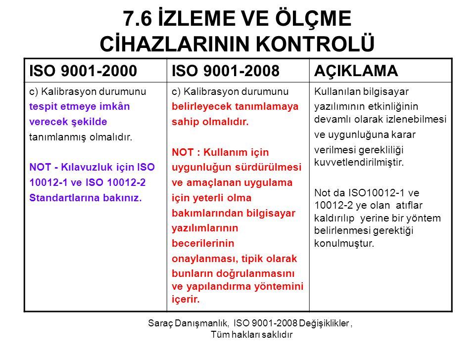 7.6 İZLEME VE ÖLÇME CİHAZLARININ KONTROLÜ ISO 9001-2000ISO 9001-2008AÇIKLAMA c) Kalibrasyon durumunu tespit etmeye imkân verecek şekilde tanımlanmış o