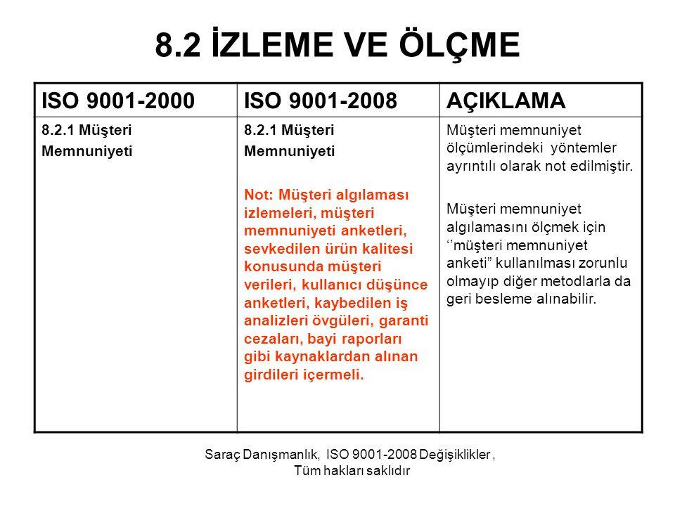 8.2 İZLEME VE ÖLÇME ISO 9001-2000ISO 9001-2008AÇIKLAMA 8.2.1 Müşteri Memnuniyeti 8.2.1 Müşteri Memnuniyeti Not: Müşteri algılaması izlemeleri, müşteri