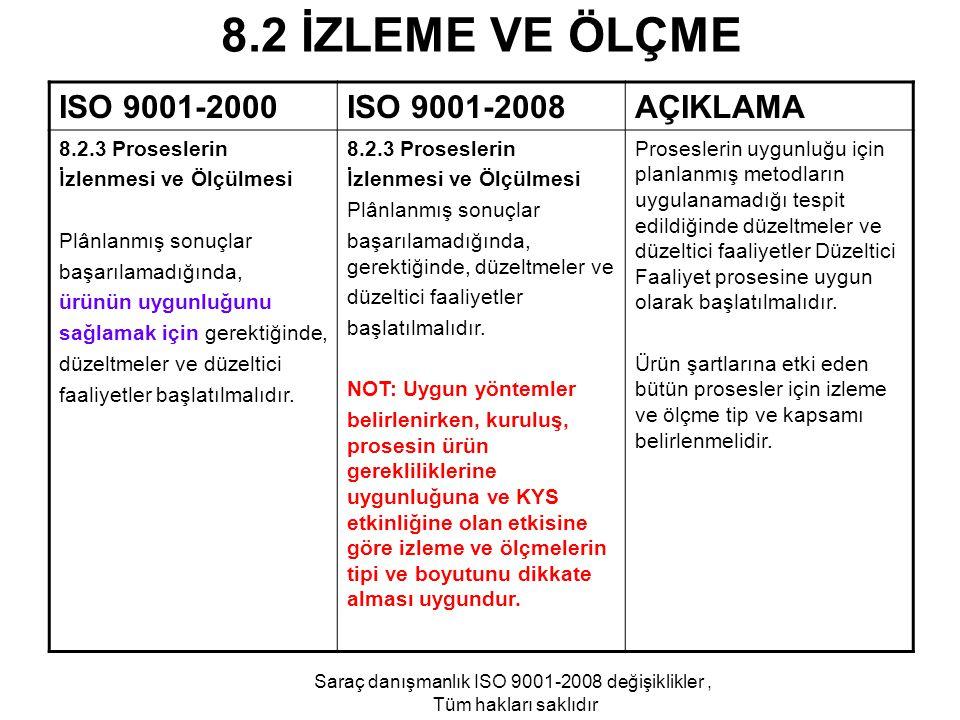 8.2 İZLEME VE ÖLÇME ISO 9001-2000ISO 9001-2008AÇIKLAMA 8.2.3 Proseslerin İzlenmesi ve Ölçülmesi Plânlanmış sonuçlar başarılamadığında, ürünün uygunluğ