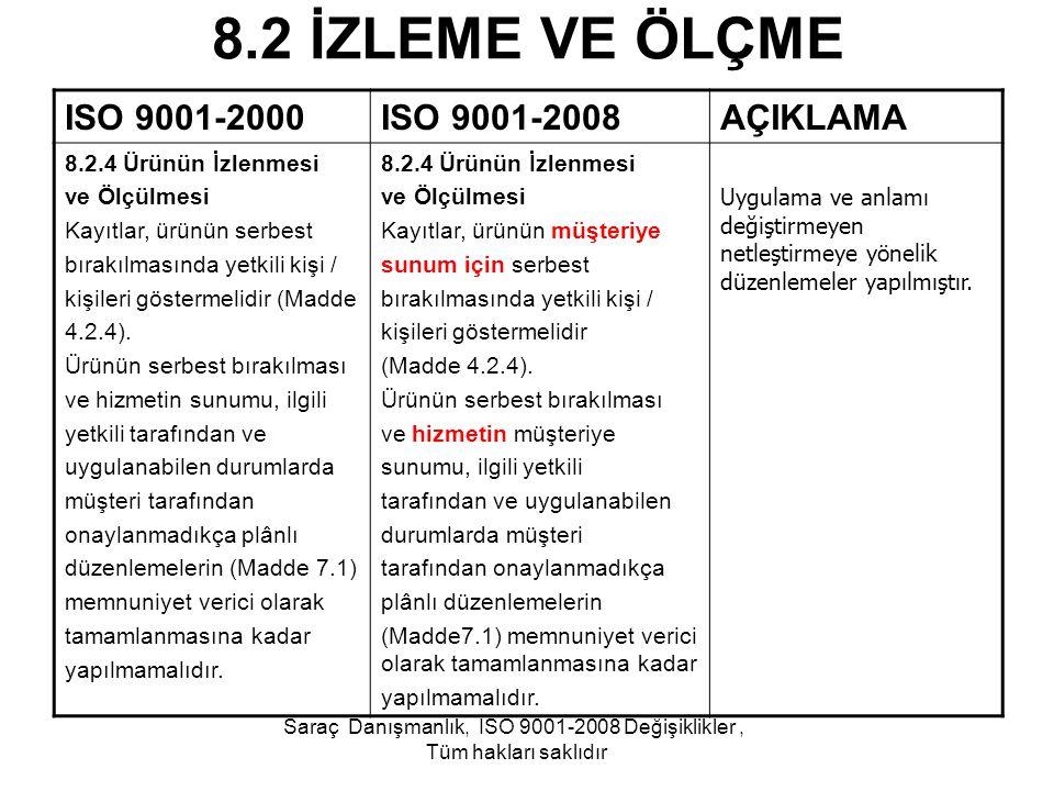 8.2 İZLEME VE ÖLÇME ISO 9001-2000ISO 9001-2008AÇIKLAMA 8.2.4 Ürünün İzlenmesi ve Ölçülmesi Kayıtlar, ürünün serbest bırakılmasında yetkili kişi / kişi