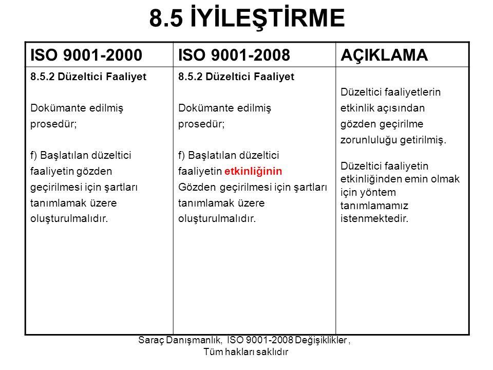 8.5 İYİLEŞTİRME ISO 9001-2000ISO 9001-2008AÇIKLAMA 8.5.2 Düzeltici Faaliyet Dokümante edilmiş prosedür; f) Başlatılan düzeltici faaliyetin gözden geçi