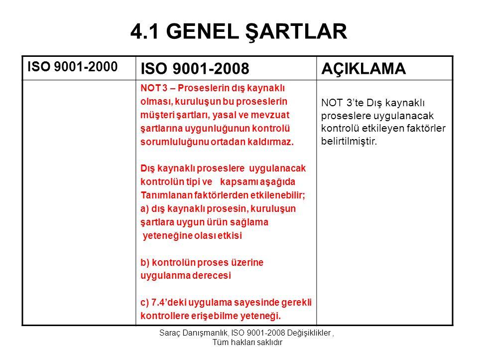 4.2 DOKÜMANTASYON ISO 9001-2000ISO 9001-2008AÇIKLAMA 4.2.1 Genel c) Bu standardın öngördüğü dokümante edilmiş prosedürleri, d) Proseslerin etkin plânlanmasını, uygulanması ve kontrolünü sağlamak için kuruluşun ihtiyaç duyduğu dokümanları, NOT 1 - Bu standart'da 'dokümante edilmiş prosedür' ifadesi görüldüğü yerlerde, prosedürün oluşturulmuş, dokümante edilmiş, uygulanmış ve sürekliliğinin sağlanmış olduğu anlaşılır.