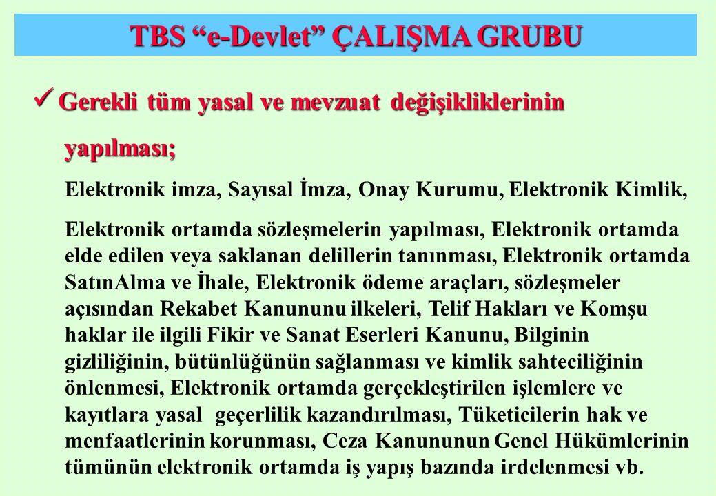 """TBS """"e-Devlet"""" ÇALIŞMA GRUBU Gerekli tüm yasal ve mevzuat değişikliklerinin Gerekli tüm yasal ve mevzuat değişikliklerinin yapılması; yapılması; Elekt"""