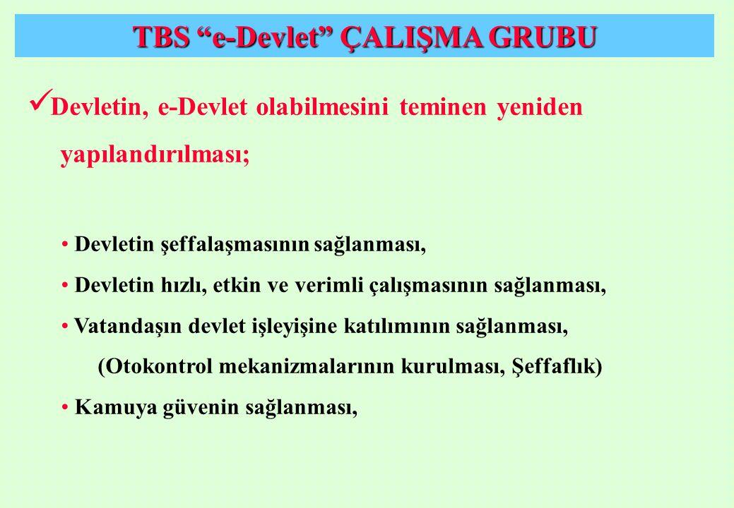 """TBS """"e-Devlet"""" ÇALIŞMA GRUBU Devletin, e-Devlet olabilmesini teminen yeniden yapılandırılması; Devletin şeffalaşmasının sağlanması, Devletin hızlı, et"""