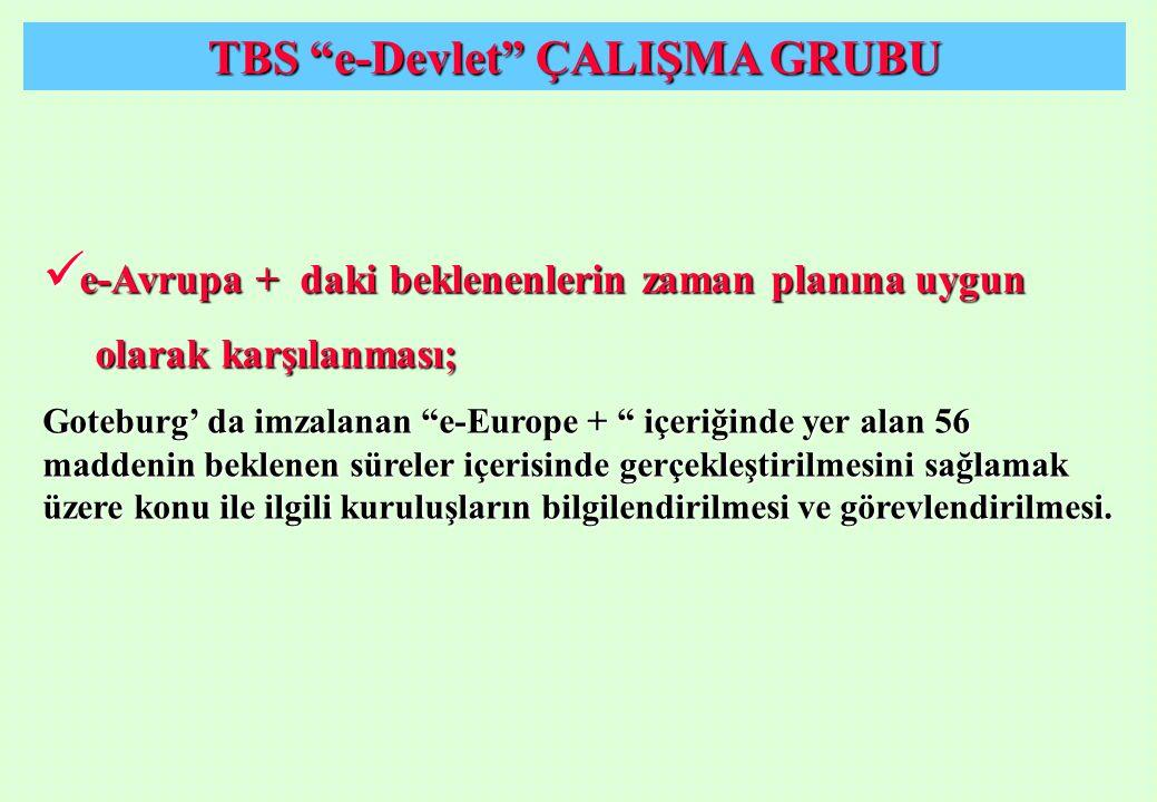 """TBS """"e-Devlet"""" ÇALIŞMA GRUBU e-Avrupa + daki beklenenlerin zaman planına uygun e-Avrupa + daki beklenenlerin zaman planına uygun olarak karşılanması;"""
