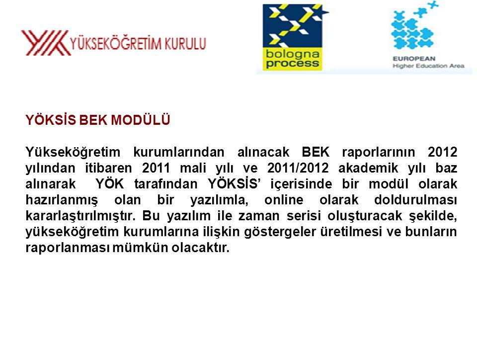 YÖKSİS BEK MODÜLÜ Yükseköğretim kurumlarından alınacak BEK raporlarının 2012 yılından itibaren 2011 mali yılı ve 2011/2012 akademik yılı baz alınarak