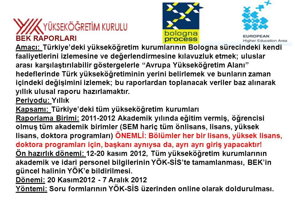 BEK RAPORLARI Amacı: Türkiye'deki yükseköğretim kurumlarının Bologna sürecindeki kendi faaliyetlerini izlemesine ve değerlendirmesine kılavuzluk etmek