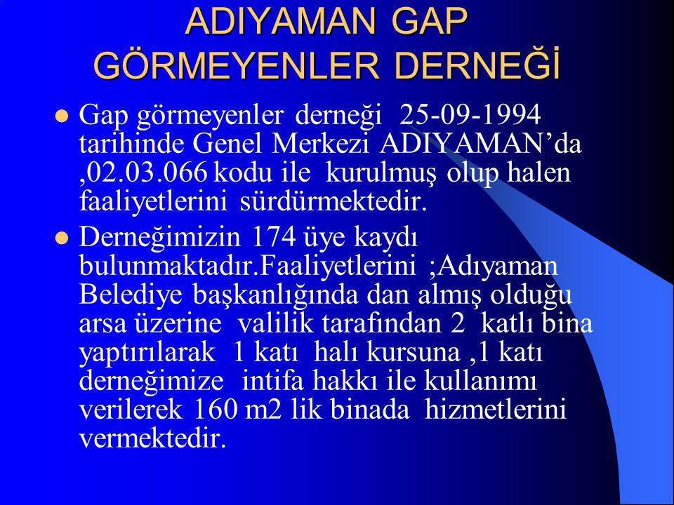 ADIYAMAN GAP GÖRMEYENLER DERNEĞİ Gap görmeyenler derneği 25-09-1994 tarihinde Genel Merkezi ADIYAMAN'da,02.03.066 kodu ile kurulmuş olup halen faaliyetlerini sürdürmektedir.