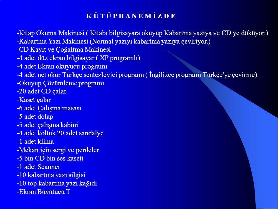 K Ü T Ü P H A N E M İ Z D E -Kitap Okuma Makinesi ( Kitabı bilgisayara okuyup Kabartma yazıya ve CD ye döküyor.) -Kabartma Yazı Makinesi (Normal yazıyı kabartma yazıya çeviriyor.) -CD Kayıt ve Çoğaltma Makinesi -4 adet düz ekran bilgisayar ( XP programlı) -4 adet Ekran okuyucu programı -4 adet net okur Türkçe sentezleyici programı ( İngilizce programı Türkçe ye çevirme) -Okuyup Çözümleme programı -20 adet CD çalar -Kaset çalar -6 adet Çalışma masası -5 adet dolap -5 adet çalışma kabini -4 adet koltuk 20 adet sandalye -1 adet klima -Mekan için sergi ve perdeler -5 bin CD bin ses kaseti -1 adet Scanner -10 kabartma yazı silgisi -10 top kabartma yazı kağıdı -Ekran Büyütücü T
