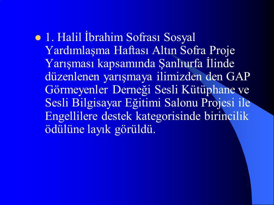 1. Halil İbrahim Sofrası Sosyal Yardımlaşma Haftası Altın Sofra Proje Yarışması kapsamında Şanlıurfa İlinde düzenlenen yarışmaya ilimizden den GAP Gör