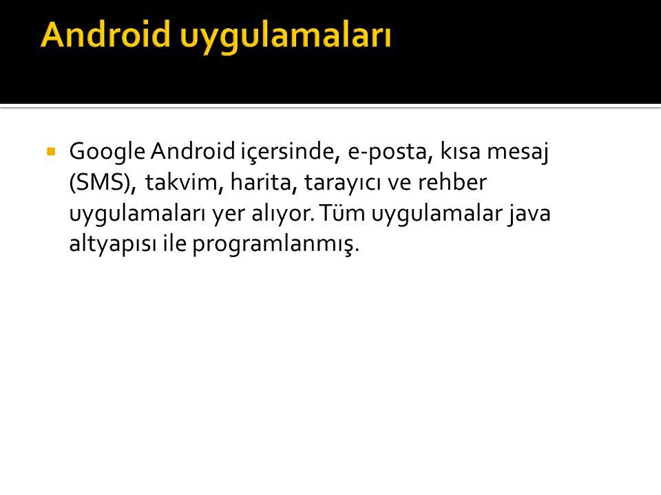  Google Android içersinde, e-posta, kısa mesaj (SMS), takvim, harita, tarayıcı ve rehber uygulamaları yer alıyor. Tüm uygulamalar java altyapısı ile