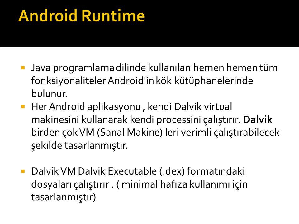  Java programlama dilinde kullanılan hemen hemen tüm fonksiyonaliteler Android'in kök kütüphanelerinde bulunur.  Her Android aplikasyonu, kendi Dalv