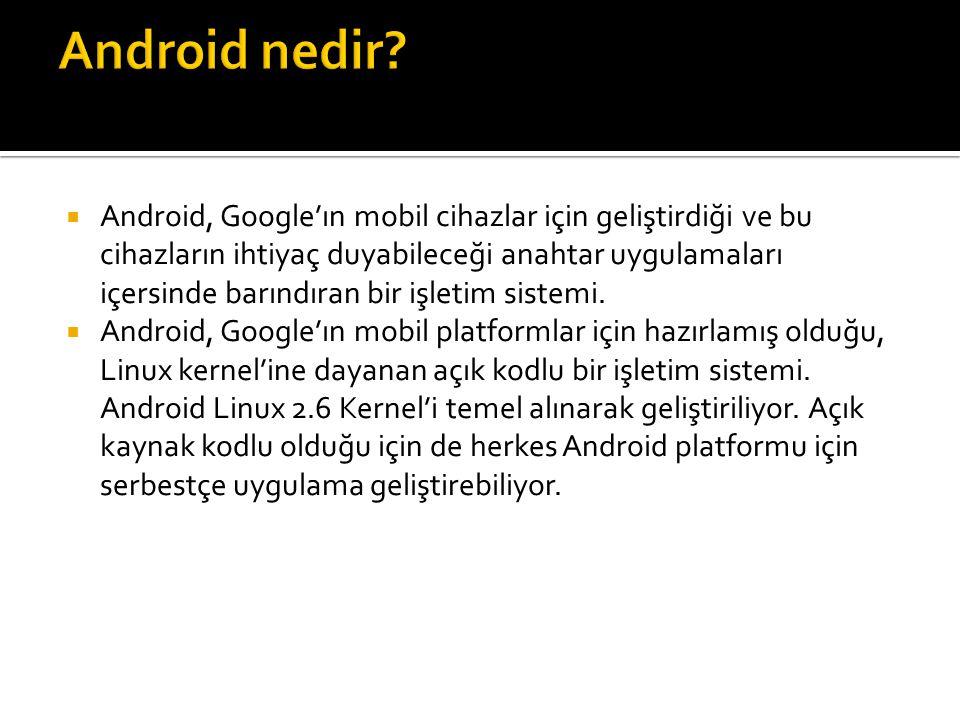  Android, Google'ın mobil cihazlar için geliştirdiği ve bu cihazların ihtiyaç duyabileceği anahtar uygulamaları içersinde barındıran bir işletim sistemi.