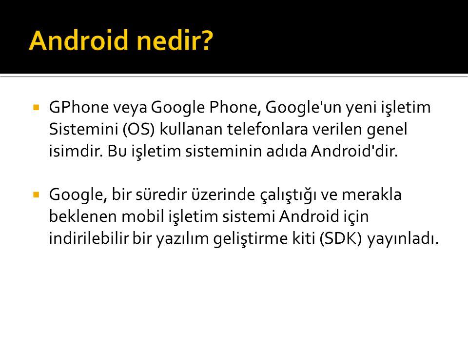  GPhone veya Google Phone, Google'un yeni işletim Sistemini (OS) kullanan telefonlara verilen genel isimdir. Bu işletim sisteminin adıda Android'dir.