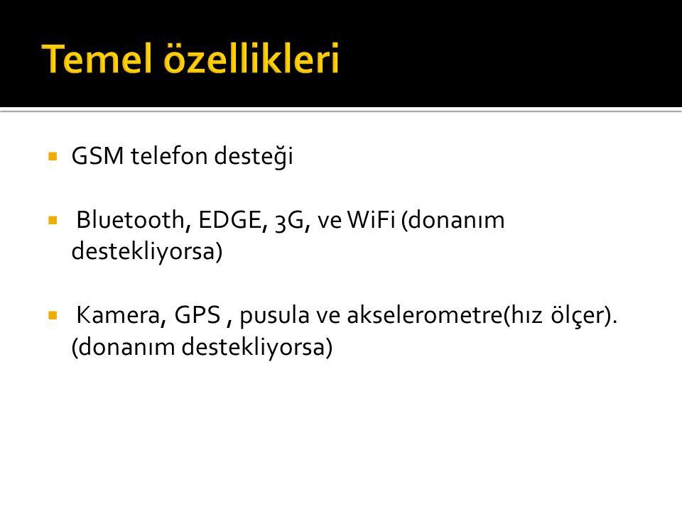  GSM telefon desteği  Bluetooth, EDGE, 3G, ve WiFi (donanım destekliyorsa)  Kamera, GPS, pusula ve akselerometre(hız ölçer).