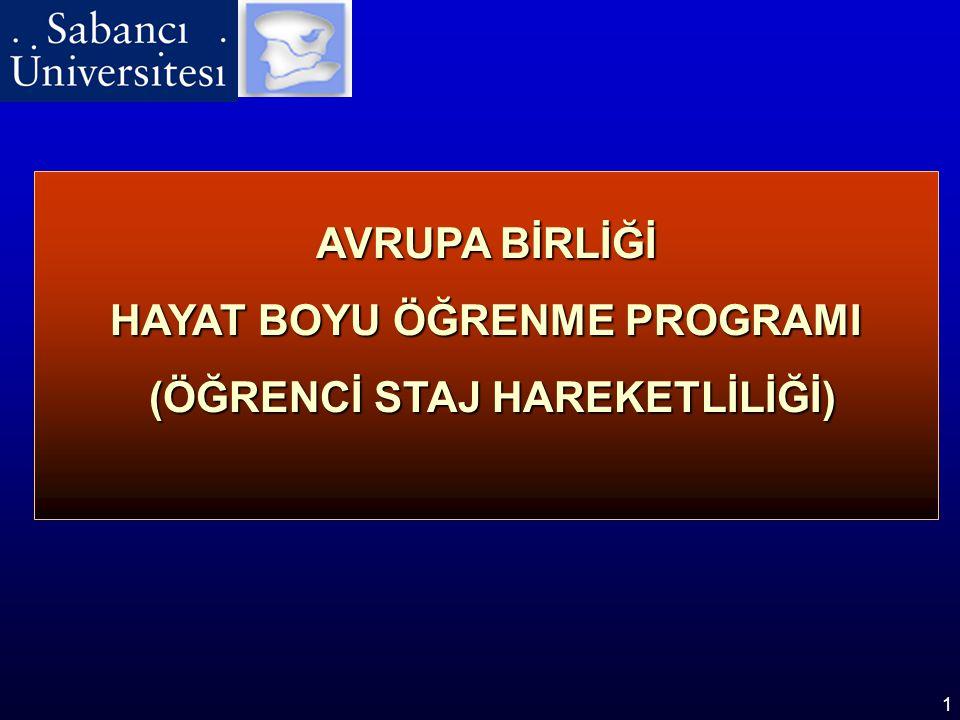 1 AVRUPA BİRLİĞİ HAYAT BOYU ÖĞRENME PROGRAMI (ÖĞRENCİ STAJ HAREKETLİLİĞİ) (ÖĞRENCİ STAJ HAREKETLİLİĞİ)