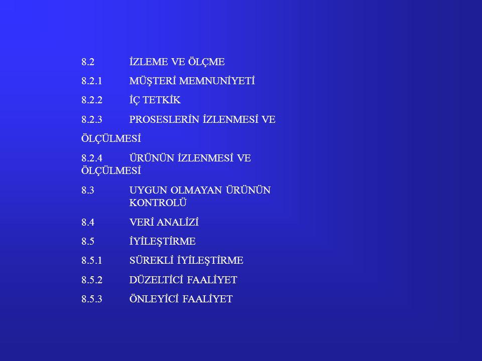 7.1ÜRÜN GERÇEKLEŞTİRMENİN PLANLANMASI 7.2MÜŞTERİ İLE İLİŞKİLİ PROSESLER 7.2.1ÜRÜNE BAĞLI ŞARTLARIN BELİRLENMESİ 7.2.2ÜRÜNE BAĞLI ŞARTLARIN GÖZDEN GEÇİ