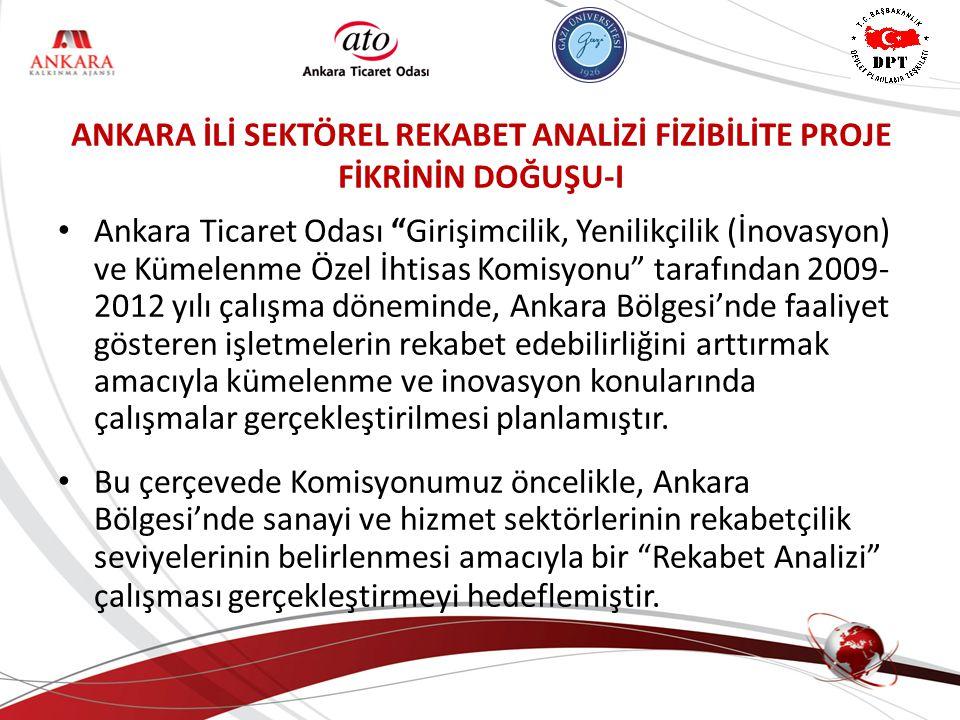 ANKARA İLİ SEKTÖREL REKABET ANALİZİ FİZİBİLİTE PROJE FİKRİNİN DOĞUŞU-I Ankara Ticaret Odası Girişimcilik, Yenilikçilik (İnovasyon) ve Kümelenme Özel İhtisas Komisyonu tarafından 2009- 2012 yılı çalışma döneminde, Ankara Bölgesi'nde faaliyet gösteren işletmelerin rekabet edebilirliğini arttırmak amacıyla kümelenme ve inovasyon konularında çalışmalar gerçekleştirilmesi planlamıştır.