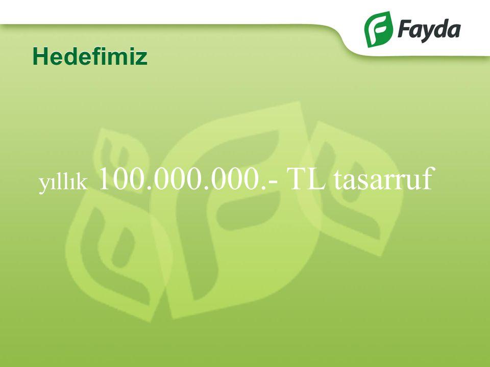 Hedefimiz yıllık 100.000.000.- TL tasarruf