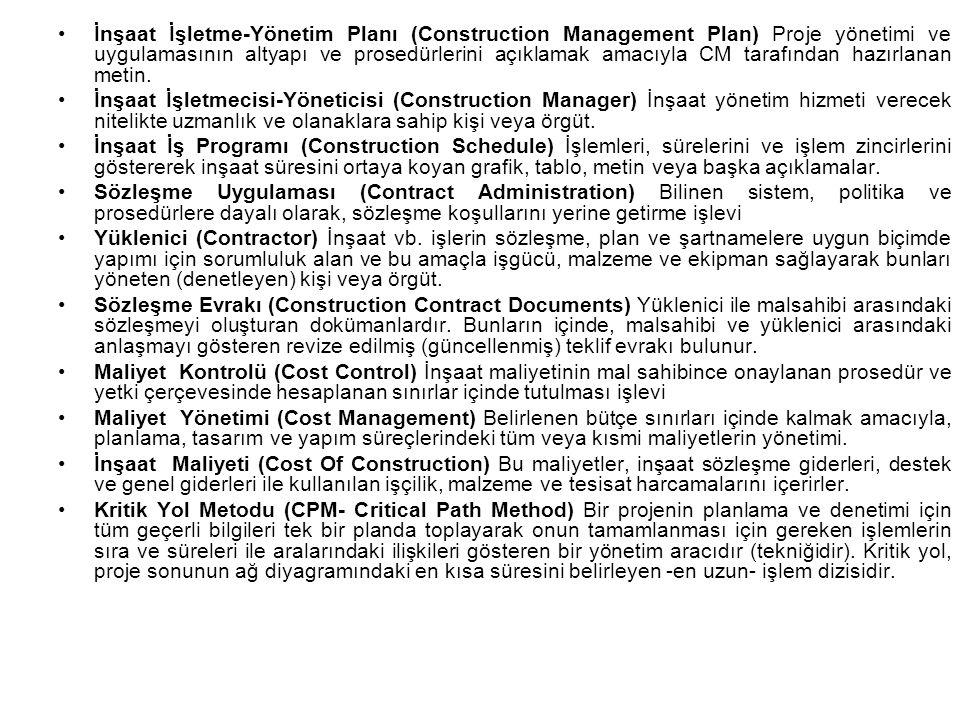 İnşaat İşletme-Yönetim Planı (Construction Management Plan) Proje yönetimi ve uygulamasının altyapı ve prosedürlerini açıklamak amacıyla CM tarafından