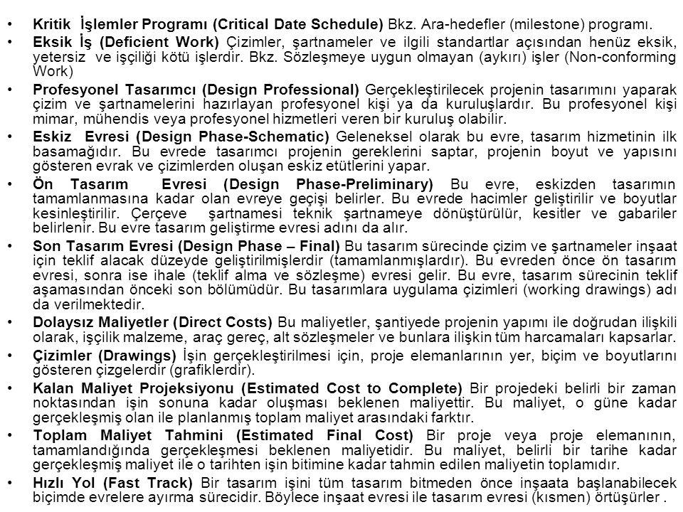 Kritik İşlemler Programı (Critical Date Schedule) Bkz. Ara-hedefler (milestone) programı. Eksik İş (Deficient Work) Çizimler, şartnameler ve ilgili st