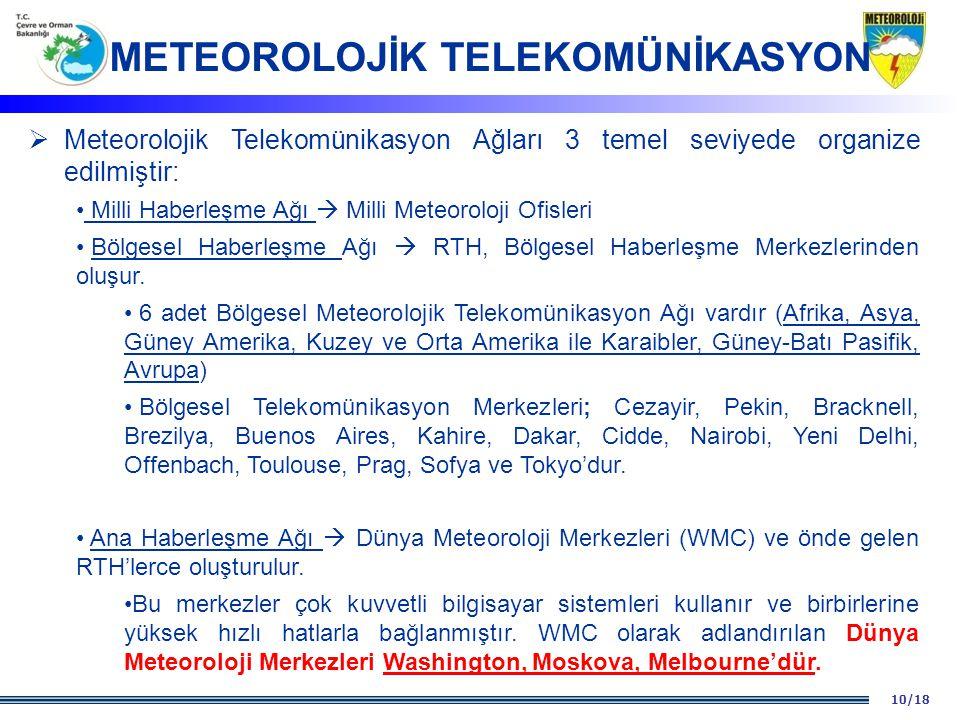 10/18  Meteorolojik Telekomünikasyon Ağları 3 temel seviyede organize edilmiştir: Milli Haberleşme Ağı  Milli Meteoroloji Ofisleri Bölgesel Haberleş