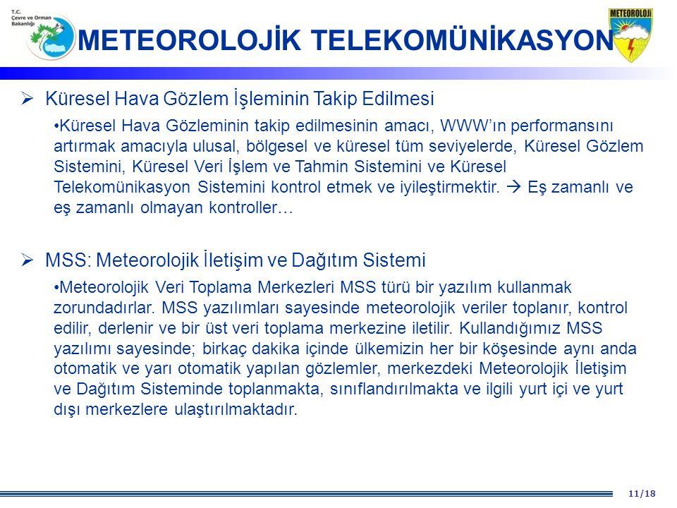 11/18  Küresel Hava Gözlem İşleminin Takip Edilmesi Küresel Hava Gözleminin takip edilmesinin amacı, WWW'ın performansını artırmak amacıyla ulusal, b
